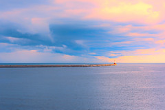 Berwick Pier & Lighthouse (Simon Downham) Tags: dsc2591 lighthouse pier sea cloud clouds ater sky berwick berick upon tweed pastels pastel minimal minimalist minimalistic north northumberland northumbria seascape ddd3
