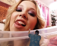 Daisy Teases Iggy (iggy62pop2) Tags: giantess shrinkingman tallwoman sexy blonde babe milf mouth lookingdown trapped tiny man