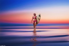 If you're (gusdiaz) Tags: photoshop photomanipulation composite composition surfer woman model colorful colorido atardecer amanecer mar oceano cielo agua nubes reflection reflejo mujer modelo arena playa digital art arte artistic artistico