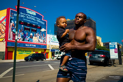 The New Yorkers - Coney Island Beach Strong Dad (François Escriva) Tags: street streetphotography black candid olympus omd us usa new york nyc ny people son daughter father child baby blue sky coney island beach photo rue