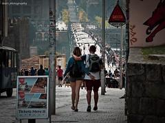 Love in Oporto (lauracastillo5) Tags: porto couple city cityscape citylife love street streetstyle people portugal morning vanishingpoint travel tram path avenue