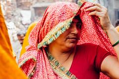 Woman Peeking from Sari, Uttar Pradesh India (AdamCohn) Tags: 013kmtobaldevinuttarpradeshindia adamcohn baldeo baldev india uttarpradesh geo:lat=27407961 geo:lon=77822307 geotagged holi saree sari saris women wwwadamcohncom