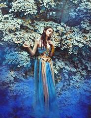 (Marine Lemartrier) Tags: smoke blue alternative antique mucha athena model woman redhead redhair fantasy art portrait poetry poetic nature flowers bokeh
