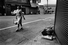A city 657 (soyokazeojisan) Tags: japan osaka bw city street people blackandwhite monochrome analog olympus m1 om1 21mm film trix kodak memories 1970s 1975