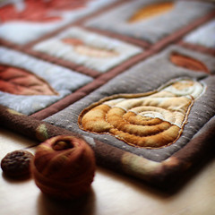 Autumn Trivet (PatchworkPottery) Tags: patchworkpottery mugrug trivet potholder quilt quilted patchwork applique autumn leaf acorn pear freemotion leaves qayg quiltasyougo