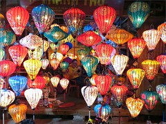 'Let there be Light' (Mary Faith.) Tags: chinese lanterns hoian night bright shop vendor colourful vietman market