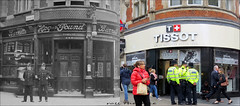 Oxford Street`1905-2018 (roll the dice) Tags: london westminster w1 westend southmoltonstreet jewellers shops shopping closed vanished demolished sad mad surreal old local history retro edwardian bygone pub publichouse boozer beer ale drinking corner police pc coppers oldbill uniform helmet 999 emergency people fashion streetfurniture watneys architecture oldandnew pastandpresent hereandnow urban england uk classic art canon tourism tourists busy crowd nostalgia comparison watneycombereid bar mayfair timekeeper windows whistle entrance bricks met sale bargain bondstreet underground tube