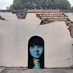 When I'm feeling blue (id-iom) Tags: blue face philcollins earworm graffiti vandalism abandoned derelict london girl street art urbanart streetart urban