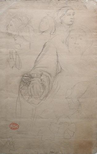 DEGAS Edgar,1858-67 - La Famille Bellelli, Visages et Bras, Etudes (Orsay) - 0