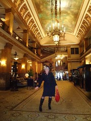 A Small Part Of The Big Picture (Laurette Victoria) Tags: purse boots beret suit woman laurette lobby hotel milwaukee pfisterhotel