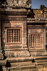 Column Shades in the Windows at Banteay Srei Temple, Angkor, Cambodia-31 (Yasu Torigoe) Tags: banteaysrei siemreapprovince cambodia kh