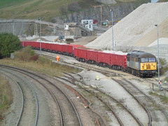 56301 shunting at peak forest buxton. (rharwood75) Tags: train locomotive sky stone red trees class56 grid track