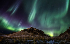 Aurora borealis (creyala) Tags: northerlights aurora borealis lights nature landscape iceland hvolsvollur show amazing green purple hill dancing beauty snow canon 70d