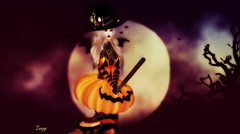 Practice (Zoey Lynne) Tags: secondlife halloween witch moon pumpkin broom
