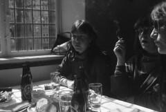 Dining at a fieldtrip. (rotabaga) Tags: denmark copenhagen københavn köpenhamn konica svartvitt blackandwhite bw bwfp