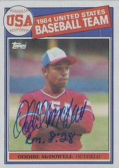 1985 Topps / 1984 USA Olympic Baseball Team - Oddibe McDowell #400 (Outfield) - Autographed Baseball Card (Treasures from the Past) Tags: 1985 topps 1985topps baseball cards baseballcard vintage auto autograph graf graph graphed sign signed signature oddibemcdowell 1984usabaseballteam texasrangers outfield