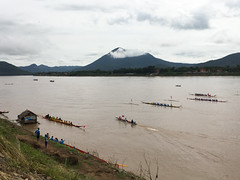 Boat Racing Festival with a Beautiful Scenic Laos Backdrop