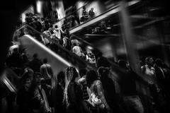 La fièvre de chaque soir... / Evening fever... (vedebe) Tags: netb noiretblanc nb bw monochrome foule escaliers humain human hommes people ville street urbain urban urbanarte city gares
