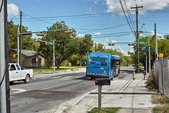 bus stop (seokinskywalker) Tags: bus blue public transportation station trees sky day daytime town village city sigma dp2 merrill