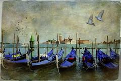 Gondolas at St. Mark's Square with view to San Giorgio Maggiore Island, Venice, Italy. (ulli_p) Tags: art aworkofart buildings flickraward boats gondolas italy likeapainting landscape texture textured texturedphoto sea sky