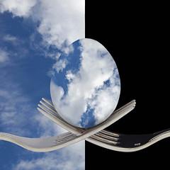 Cloudy Morning Breakfast (njk1951) Tags: clouds egg photomanipulation forks crossedforks squareformat cloudysky breakfast blackbackground morningclouds cloudymorningbreakfast