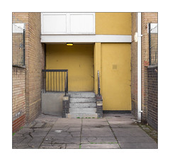 The Built Environment, East London, England. (Joseph O'Malley64) Tags: thebuiltenvironment newtopography newtopographics building structure councilestate estate blockofflats housingestate housing homes dwellings abodes eastlondon eastend london england uk britain british greatbritain urban urbanlandscape architecture architecturalphotography entrance exit reinforcedconcrete steelreinforcedconcretestructure brickworkcladding brickinfills brickwork bricksmortar cement pointing wall walls steps concretesteps stairs steelrailings airbrick windows doubleglazing upvcdoubleglazing lamps lighting meshfencing steeluprights stopcock accesscover electricalconduit pavement pavingslabs concrete fujix fujix100t accuracyprecision