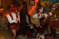 Bringing some more music to the scene (radargeek) Tags: prairierebellion fashion fashionshow 2018 february houseparty roundabout okc oklahomacity guitar bluehair redhair greenhair plaid