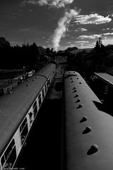 All Stations North. (Neil. Moralee) Tags: neilmoralee steamwsrneilmoralee train platform steam railway carriage track smoke express west somerset heratige rail sky top station leaving clouds black white monochrome bw bandw blackandwhite driver locamotive britain england north neil moralee nikon d7200 still life landscape scene old