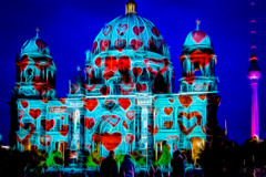 Festival of Lights (@DinAFoto) Tags: berlin berliner dom festival light on heart night low nightshot architecture cathedral red blue neon