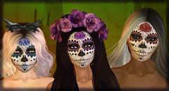 Muertas (Alea Lamont) Tags: ndmd skins ethnic skin muerta sugar skull face tattoos omega appliers catwa vista laq lelutka genus bento heads truth hair trunk show event halloween bride sntch