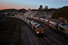 Low Light at High Peak (whosoever2) Tags: uk united kingdom gb great britain england nikon d7100 train railway railroad october 2018 gbrf class66 66760 66748 66738 6h60 6z56 56301 peakforest cemex highpeak derbyshire buxton