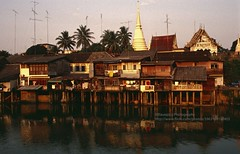 Chantaburi, along the river (blauepics) Tags: thailand east chantaburi city stadt scenery landschaft landscape building gebäude house haus architecture architektur thai river fluss water wasser trees bäume reflection spiegelung evening light abendlicht licht chedi