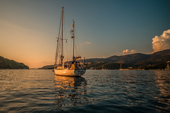 Sunset anchorage.... (Dafydd Penguin) Tags: anchor anchorage cove bay yacht yachting sail sailboat sailing cruising coastal coast sea water hallberg rassy rasmus ionian greece west mediterranean mourtos greek leica m10 elmarit 21mm f28
