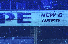 New and Used... (Mister Day) Tags: snow low light blue urban edmonton letters new used snowfall canada downtown pe