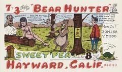 The Viking: The Bear Hunter & Sweet Pea - Hayward, California (73sand88s by Cardboard America) Tags: qsl cbradio vintage cb qslcard theviking california dirty