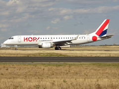 F-HBLE, Embraer ERJ-190LR (ERJ-190-100 LR), 19000123, HOP! for Airfrance, CDG/LFPG 2018-10-11, outbound, taxiway Bravo-Loop, to runway 09R (alaindurandpatrick) Tags: fhble embraer embraererj190 erj190 19000123 embraerregionaljet jetliners airliners a5 hop airhop airlines cdg lfpg parisroissycdg airports aviationphotography