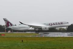 A7-ALN Airbus A350-941 EGPH 13-10-18 (MarkP51) Tags: a7aln airbus a350941 a350 qatarairways qr qtr edinburgh airport edi egph scotland aviation airliner aircraft airplane plane image markp51 nikon d7200 nikon70200f4vr rain spray