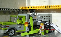 Green Panels (captain_joe) Tags: robot keko joescars mikethemechanic toy spielzeug 365toyproject lego minifigure minifig moc car auto 6wide johnnid gmc flatbed