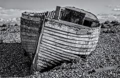Abandoned (David Feuerhelm) Tags: monochrome bw blackandwhite noiretblanc schwarzundweiss blancoynegro contrast shore shingle boat clinker dungeness kent england uk coast nikon d750 2470mmf28