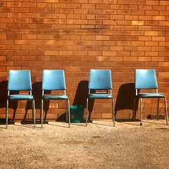Waiting for smoko #Australian #blue #four #urban #chairs #minimalism (Kate takes too many photos) Tags: australian blue four urban chairs minimalism