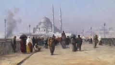 Fausto Zonaro - Hustle and Bustle on the Galata Bridge in Constantinople (skaradogan) Tags: art paintings faustozonaro