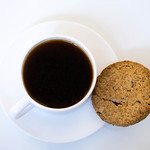 High Angle View Of The Cookie And Coffee On The White Background thumbnail