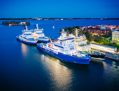 Icebreakers (miemo) Tags: balticsea dji europe finland mavic2 mavic2pro aerial autumn boat city drone evening harbor helsinki horizon icebreaker katajanokka night outdoors sea ship uusimaa fi