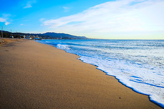 Walking on the wet sand in the morning is priceless (Fnikos) Tags: sea water mar mare wave ocean landscape seascape city mountain coast beach bay shore seashore sand wet sky cloud skyline vehicle outdoor
