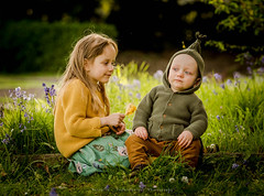 ''Don't touch me'' (solomiya.p) Tags: siblings sister brother babyboy boy blue green wonderland fun day cry me river emotion kids children outside light outdoor garden fairy tail candid portrait 135mm canon