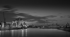 Roßhafen in the evening #2 (T.Seifer : )) Tags: blackandwhite blackwhite bw clouds monochrome longexposure harbour marina pier outdoors haida hamburg whiteandblack whiteblack lights evening