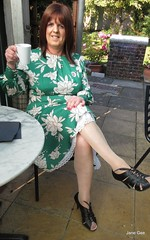 Coffee in the Cafe (janegeetgirl2) Tags: transvestite crossdresser crossdressing tgirl tv ts heels nylons glamour summer satin dress jane gee outside air museum brighton green flower tangmere arundel half slip gloss tights