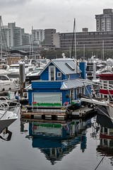 Now, That's A Houseboat! (gecko47) Tags: cityscape water buildings highrise vancouver britishcolumbia waterfront cbd houseboat home reflection moored marina coalharbor