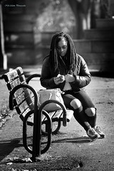 Lunch break (Neil Adams Photography (Wirral)) Tags: girl young woman beautiful backlit bw backlight blackwhite bench park