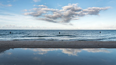 a short story about three fish seekers in the Baltic Sea (ignacy50.pl) Tags: sea seacoast seaside seashore water clouds sky sunset evening people anglers leisure poland beach